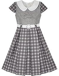 Mädchen Kleid Rosa Belted Schule Uniform Gefaltet Saum Gr. 98-158