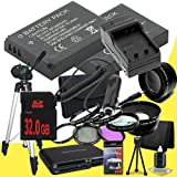 Two Canon EOS M 18 MP CMOS Mirrorless Digital SLR Camera LP-E12 Lithium Ion Replacement Battery + External Rapid Charger + 32GB SDHC Class 10 Memory Card + 43mm 3 Piece Filter Kit + Full Size Tripod + SDHC Card USB Reader + Memory Card Wallet + Deluxe Sta