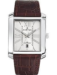 Certus  - Reloj de cuarzo para hombre, correa de cuero color marrón
