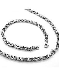 Set cadena Rey, Pulsera de cadena y collar de acero inoxidable encintado fuerte color Plata 60 cm