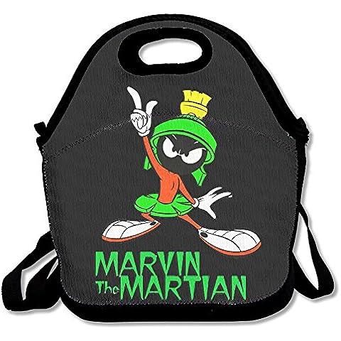 annda Marvin il marziano Cartoon in neoprene Borsa per il pranzo con tracolla