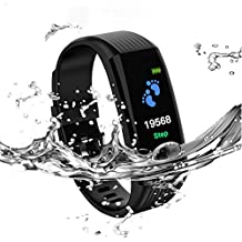 Fitness Tracker Waterproof Activity Tracker with Heart Rate Blood Pressure Monitor, Color Screen Smart Bracelet with Sleep Tracking Calorie Counter for Women, Men,Kids,Pedometer Watch iPhone Android