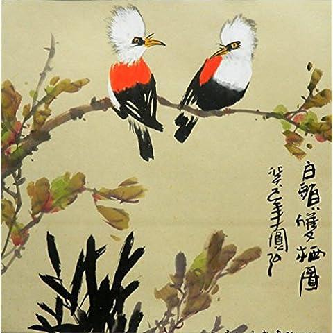 Un par de light-vented Bulbuls en árbol. Chino Pintura. Pintado por Original artista. Museo Calidad.. montado en Scrolls para colgar. Scroll Tamaño Aproximadamente 26x 67in.
