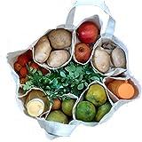BMB Technology Cotton Large Partition Grocery Hand Bag for Vegetables/Fruits (White, Veg_bag)