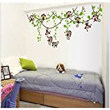 Jaamso Royals 'cartoon 5 Cute Monkey Wall Stickers For Kids Room Room' Wall Sticker (PVC Vinyl, 70 Cm X 50 Cm, Kids Room Wall Stickers)