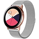 Compatible With Galaxy Watch Active 40mm Straps/Galaxy Watch 42mm Strap, 20mm Metal Stainless Steel Mesh Loop Magnet Wristban