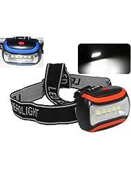 Super Linterna Foco de Cabeza 5 Led Regulable Naranja o Azul bici acampada etc (AZUL)