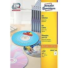 Avery L6043-100 etiqueta de impresora - Etiquetas de impresora (Transparente, CD, Papel, Inyección de tinta, 117 x 117mm, A4)