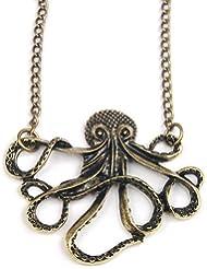 SODIAL(TM) Vintage Bronze Style Octopus Pendant Long Chain Necklace Party (accesorio de disfraz)