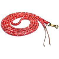 Bodenleine Bodenarbeitseil 7 Meter, starke Ausführung, 1,5 cm, messingfarbener Drehpanikhaken, Farbe: rot