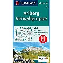 Arlberg, Verwallgruppe: 4in1 Wanderkarte 1:50000 mit Aktiv Guide und Detailkarten inklusive Karte zur offline Verwendung in der KOMPASS-App. Fahrradfahren. Skitouren. (KOMPASS-Wanderkarten, Band 33)