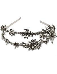 Q TS Fermaglio per capelli copricapo fiori cerchietto doppia fila in oro e  argento cerchietto abito da sposa copricapo… 44f0b53051aa