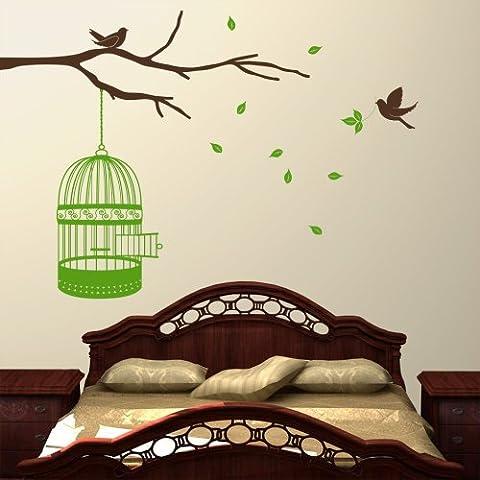 Jaulas para pájaros rama con pájaros y pasajeros - adhesivo decorativo para pared de cocina adhesivo decorativo Wondrous (tamaño extra grande)