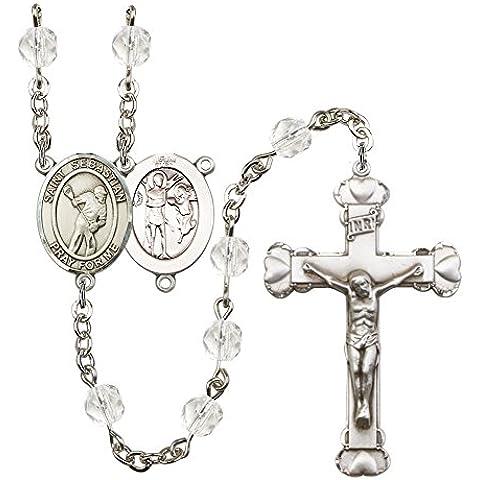 Placa de plata del rosario cuenta con 6 mm de cristal pulido fuego granos. El crucifijo mide 1 5/8 x 1. La pieza central de un San Sebastián/lacrosse