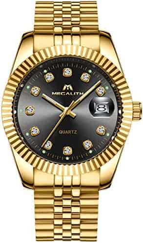 Men's Watches Stainless Steel Men's Luxury Elegant Design 30m Waterproof Date Calendar Gold Unisex Business Hatchet Now, Fashion Dress Analog Quartz Wrist Watch with Rhinestone Black Dial