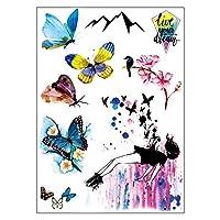 BESTPICKS Large Waterproof Fashion Temporary Tattoo Sticker - GIRL, BUTTERFLY, BIRD, DREAM, MOUNTAIN, FLOWER - 14.5 X 21 cm Sheet