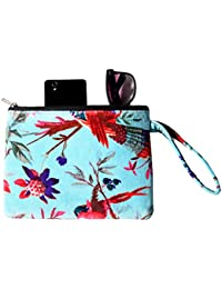 Turquoise Bird Floral Printed Bag Clutch Bag Velvet Multifunction Purse Box Travel Makeup Cosmetic Bag Toiletry...
