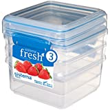 Sistema Fresh Collection Food Storage Containers, 5 Cup, 3 Pack, Clear/Marine Blue