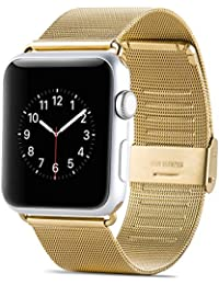 Apple Watch Strap 38 mm, JAMMYLIZARD Pulsera De Acero Inoxidable Tejido Malla Milanesa, Dorado