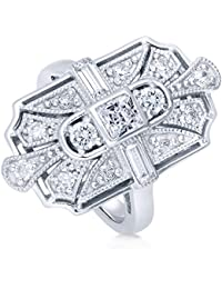 BERRICLE Rhodium Plated Sterling Silver Cubic Zirconia CZ Art Deco Statement Ring