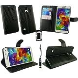 Emartbuy® Stylus Pack für Samsung Galaxy S5 Mini Metallisch Schwarz Stylus + Premium Carbon Schwarz Brieftaschen Etui Hülle Wallet Case Cover und Stundfunktion mit Kreditkartenfächern + Displayschutz