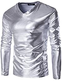 Tee Crew Neck T-Shirt Homme Couleur Vive Manches Longes Couleur Unie Shirts