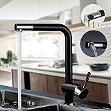 AuraLum® Robinet de Cuisine Noir Chrome Bec rotatif à 360°Mitigeur pour Evier à Un/Deux Bacs