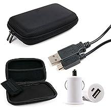 DURAGADGET KIT Estuche / Funda Rígida Para Navegador GPS + Adaptador / Cargador Mechero Coche Con Puerto USB + Cable MicroUSB-USB
