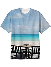 Snoogg Beautiful Beach Bar View In Maldives Mens Casual All Over Printed T Shirts Tees