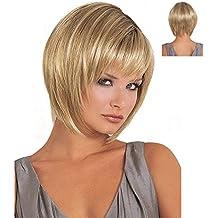 Donna parrucca capelli ombre parrucca sintetica oro breve rettilineo  parrucca sintetica Fabulous naturale come veri capelli 70bc916a346