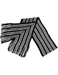 Black White Striped Knitted Scarf
