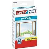 tesa Fliegengitter für Fenster Standard, weiß, leichter Sichtschutz, 1,5m x 1,8m