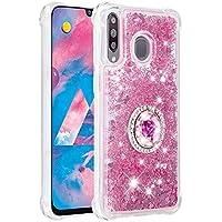 Funda Samsung Galaxy M30 / A40S TPU Silicona Purpurina Carcasa,Funda para teléfono móvil de Arena movediza líquida en con Base de Anillo de Diamantes (Oro Rosa)