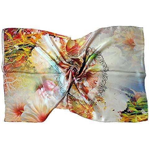 Bees Knees Fashion - Sciarpa - Sciarpa di seta marrone floreale arancione design di lusso puro lungo