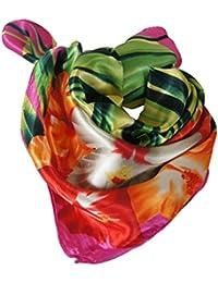 """Foulard carré 60 x 60 - 40% soie imprimé floral """"jungle"""" multicolore -"""