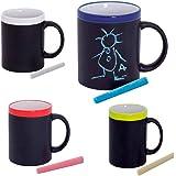 Taza Pizarra de cerámica con Tiza a Tono. Lote de 20 Tazas Colores Variados, Ideal para Que los niños se diviertan desayunand