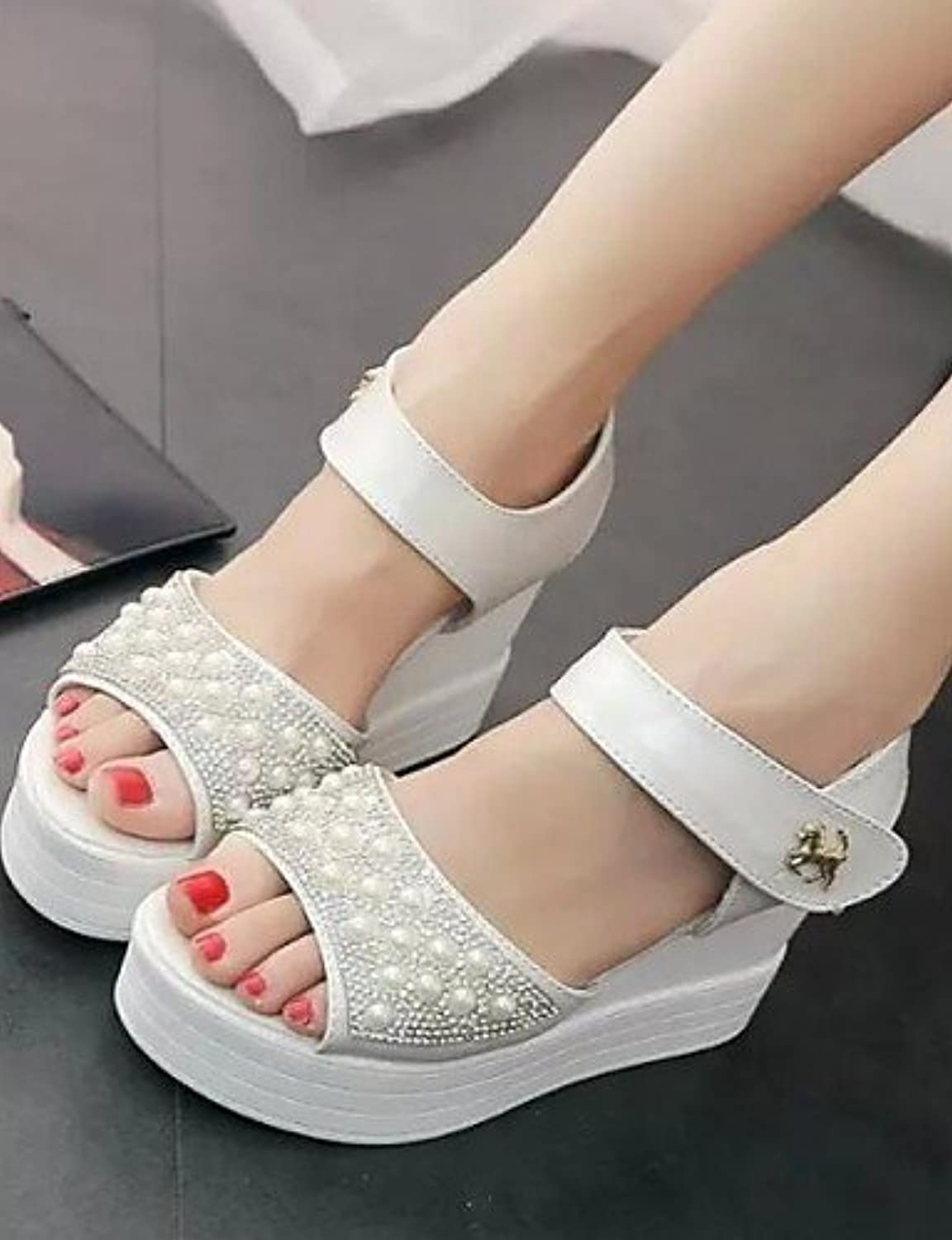 01f01184fd1e ShangYi Women s Shoes Shoes Shoes Pearl Magic Tape All Match Wedge Heel  Comfort Sandals Dress White   Silver Parent B01G07HSHY 21d444