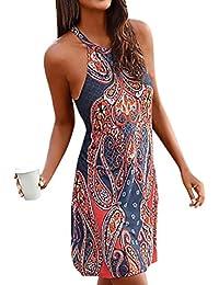 7e904c4c5df758 Trada Damenkleider, Mode Frauen Sommer Elgant V-Ausschnitt Ärmellos Boho  Streifen Lange Maxi Kleid Abend Party Strand Kleider…