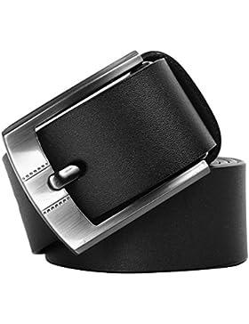 Leathario Cintura fibbia regolabile uomo in vera pelle con metallo resistente all'usura