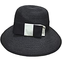 Gespout Casual Bow Hat Collapsible Outdoor Travel Sun Hat Summer England Elegant Dome Hat size 56-58CM (Black)
