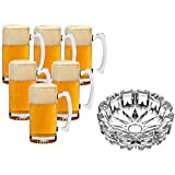 King International Glass Beer Mug Multi Purpose Use Mug | Cup Set Of 6 Pieces With Glass Ash Tray Set Of 1 Piece | Whiskey, Beverage, Beer Glasses |