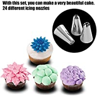 likkas 24 Pcs Large Icing Piping Nozzles Pastry Stainless Steel Tips Set For Cake Decorating Professional
