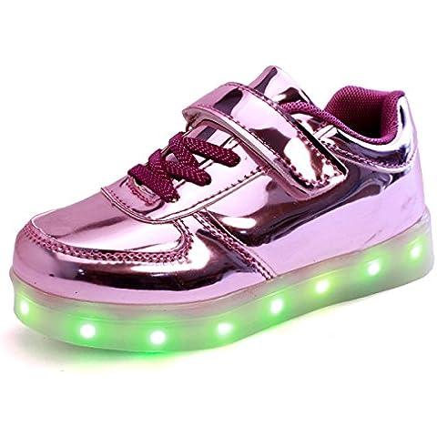 DoGeek Zapatos Led Niños Niñas 7 Color USB Carga Deportivas De Luces Zapatillas( mejor pedir una talla más)