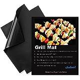 Juego de alfombrilla de grill antiadherente 2-resuable lavavajilla cocción mats-black