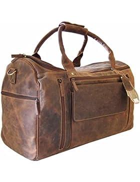 GreenBurry Reisetasche Large 53 x 36 x 26 cm Rind-Leder Sport-Tasche Weekender 1736