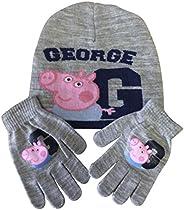 Peppa Pig - Juego de gorro y guantes de punto (3 a 8 años), color gris