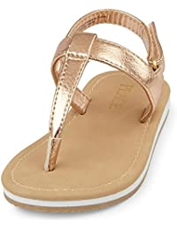 The Children's Place Girl's Rose Gold Flip-Flops and House Slippers