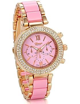 JewelryWe Damen Armbanduhr, Luxus Elegant Business Casual Analog Quarz Uhr mit Strass römischen Ziffern Pink Zifferblatt...