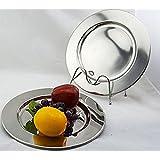 TheChargerPlateCo - Juego de platos (6 unidades, acero inoxidable, 33cm) Diseño pulido de gran calidad.