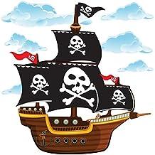 GET STICKING DECOR® Barco Pirata Pegatinas De Pared/ Calcomanías Colección, CartoonShip Pship3, Vinilo Removible Brillante, Multi Color. (Large)